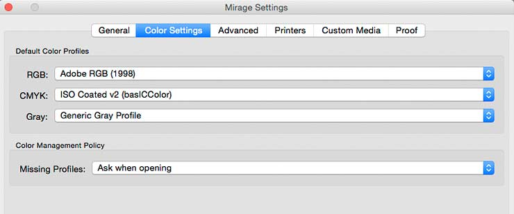 colour management preferences
