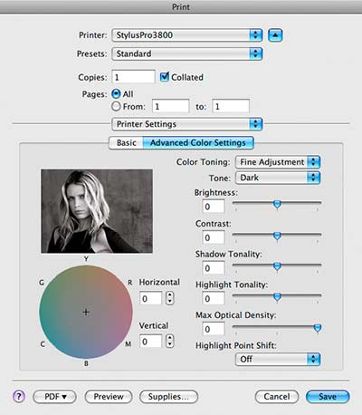 Printing greyscale images and removing unwanted colour tints
