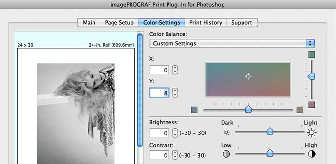 print tint adjustment for viewing lighting