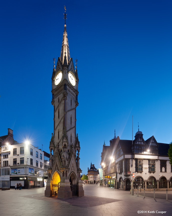 strong blue sky in evening view of the clock tower in Leicester