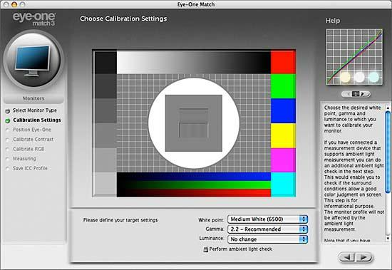 setting monitor calibration target settings