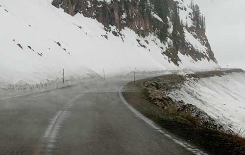 mist on road