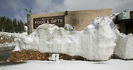 gift shop behind snow