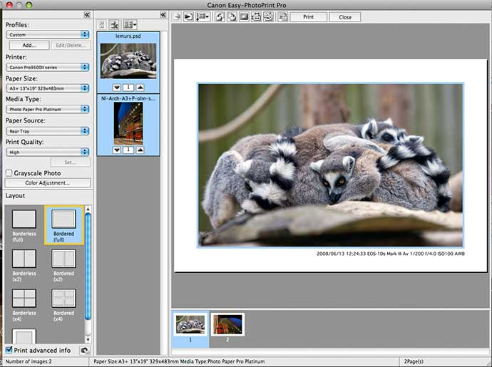 printing image meta data