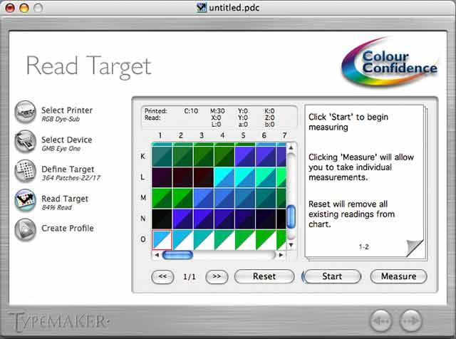 reading printer profiling target