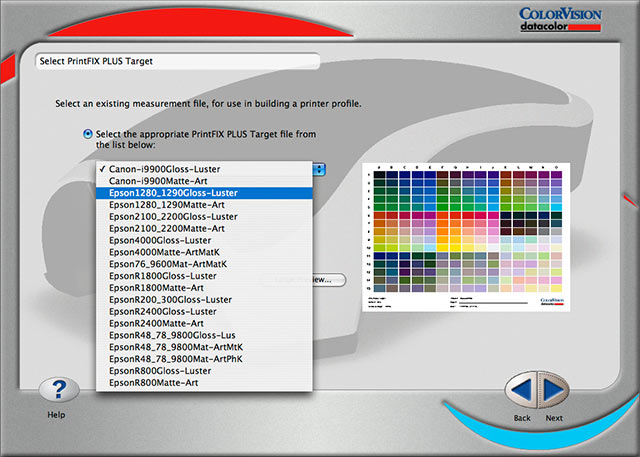 selecting printer/paper combination