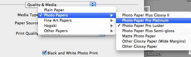 media settings for pro-10 printer