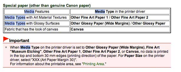 media choices, as mentioned in the printer manual
