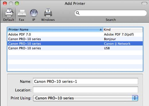printer visible on network