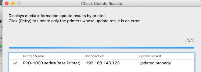updating printer with new media type