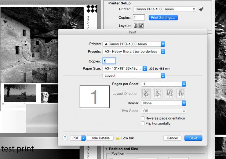 using printer settings preset