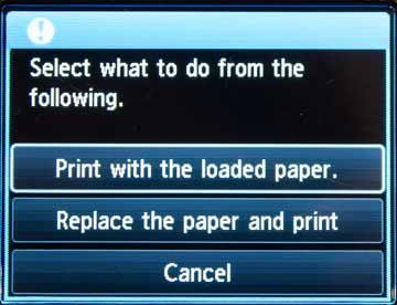 printing options on LCD