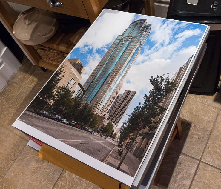 Print of Seattle building on canvas sheet