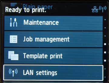 top level menu for printer