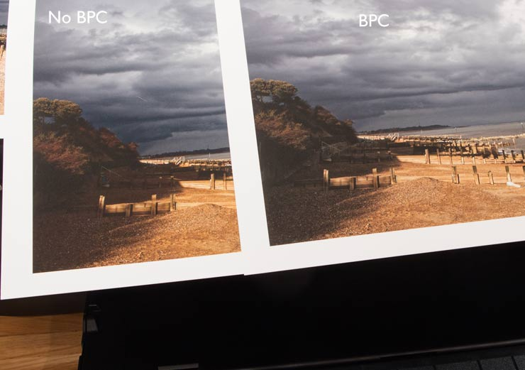 printing with and without BPC