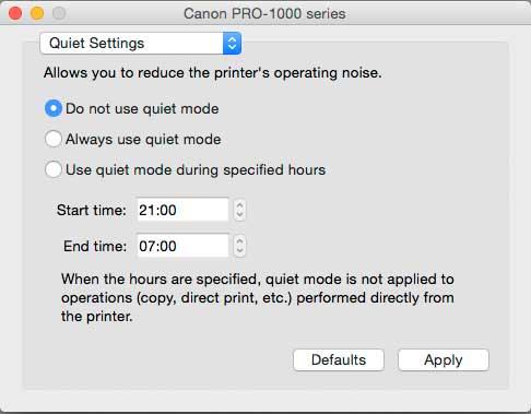 setting printer to run in quiet mode