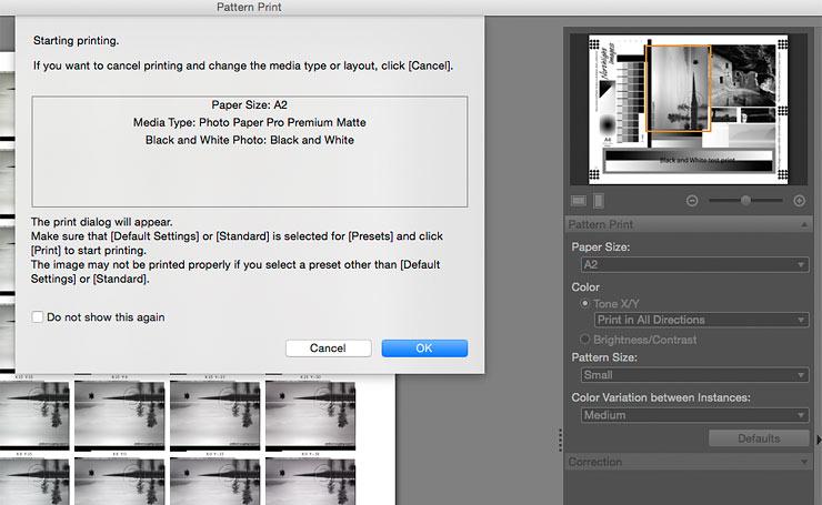 print settings for samples