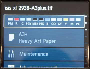 printing underway, showing job name