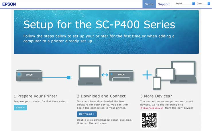initial printer setup page