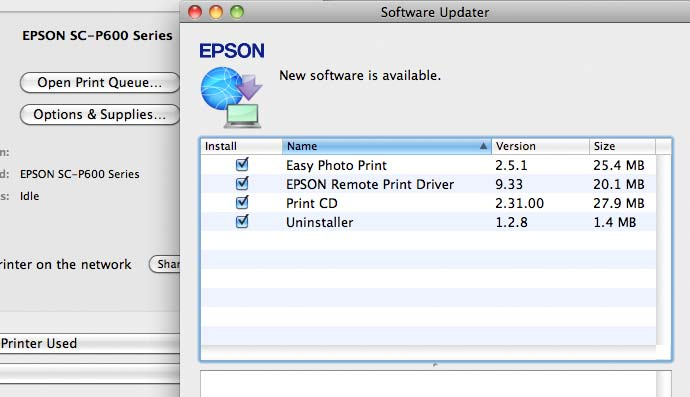 Epson software updater, showing new printer software