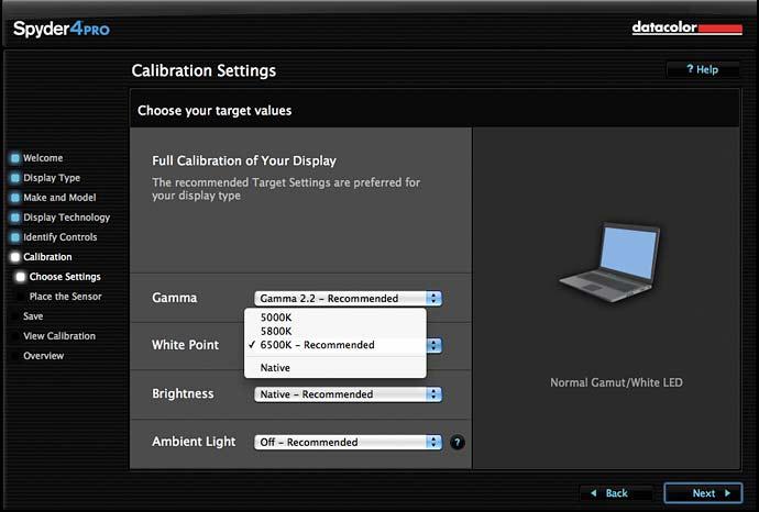 calibration settings and options