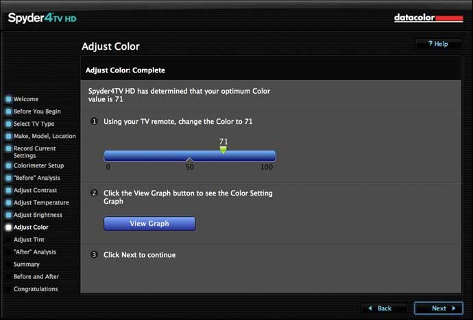 software calculates optimal settings