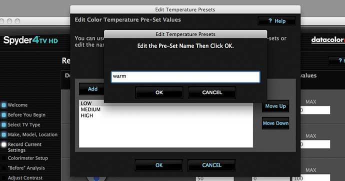 customising menu options