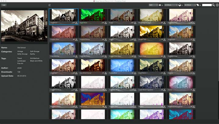 grid view of preset image editing options