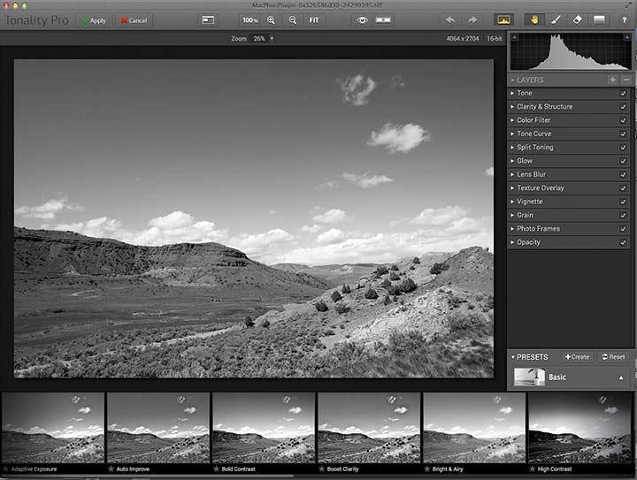 initial editing screen for tonality pro