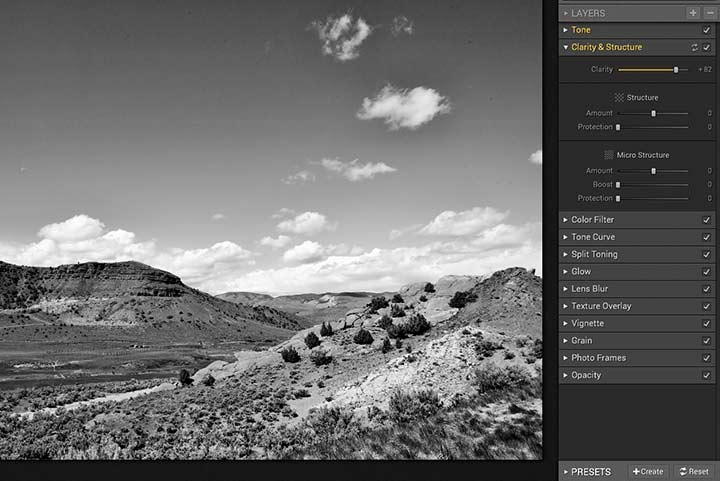 adjusting clarity setting for editing