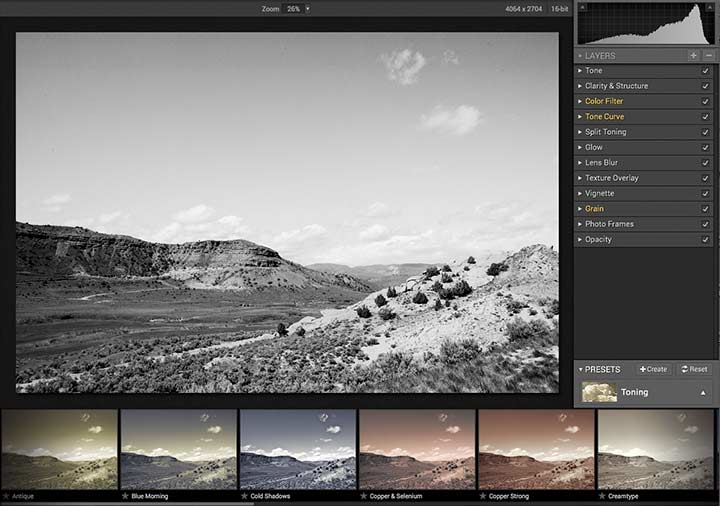 tinting and toning options for images