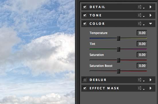colour settings adjustment panel