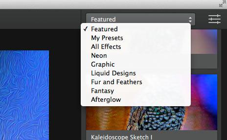 grouping of preset image adjustments