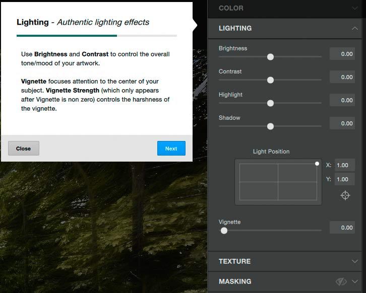 image lighting settings