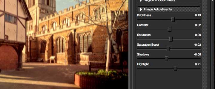image adjustment options