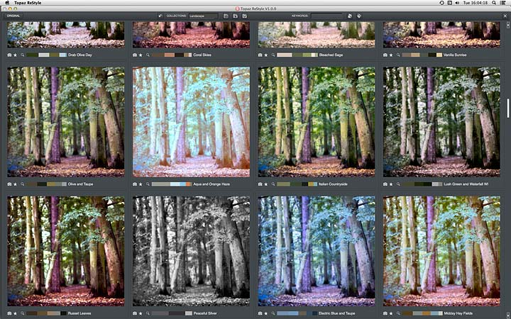 grid view of adjustment presets