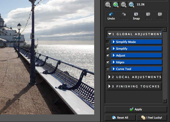 global adjustment options for image processing by the plugin