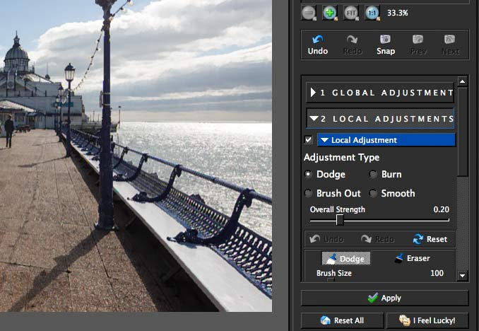 local adjustments allow for altering parts of the image by different amounts