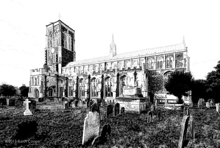 Pencil sketch style image, St Edmund's, Southwold
