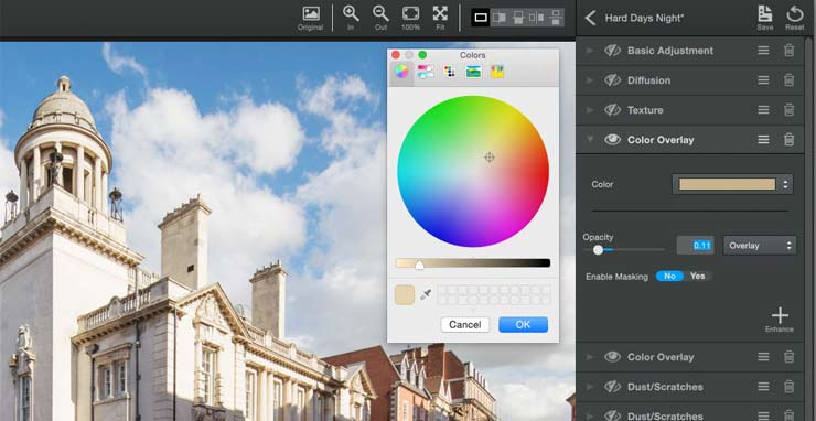 selecting a colour overlay for the image