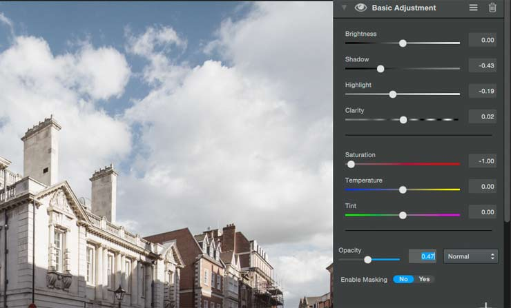 reducing opacity of an adjustment element