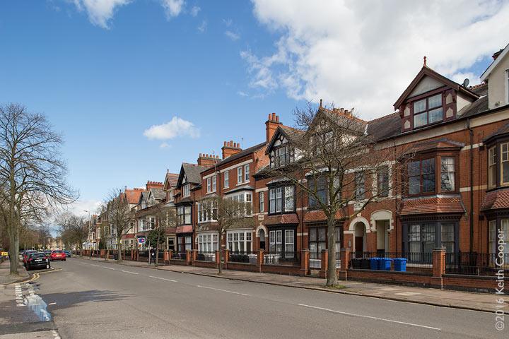 row of houses taken using shift lens