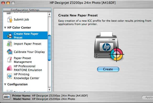 z3200 paper preset creation