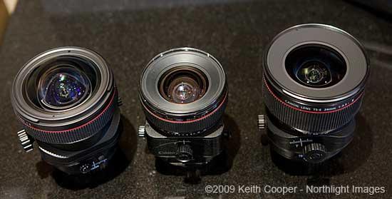 top view of 3 Canon TS-E lenses
