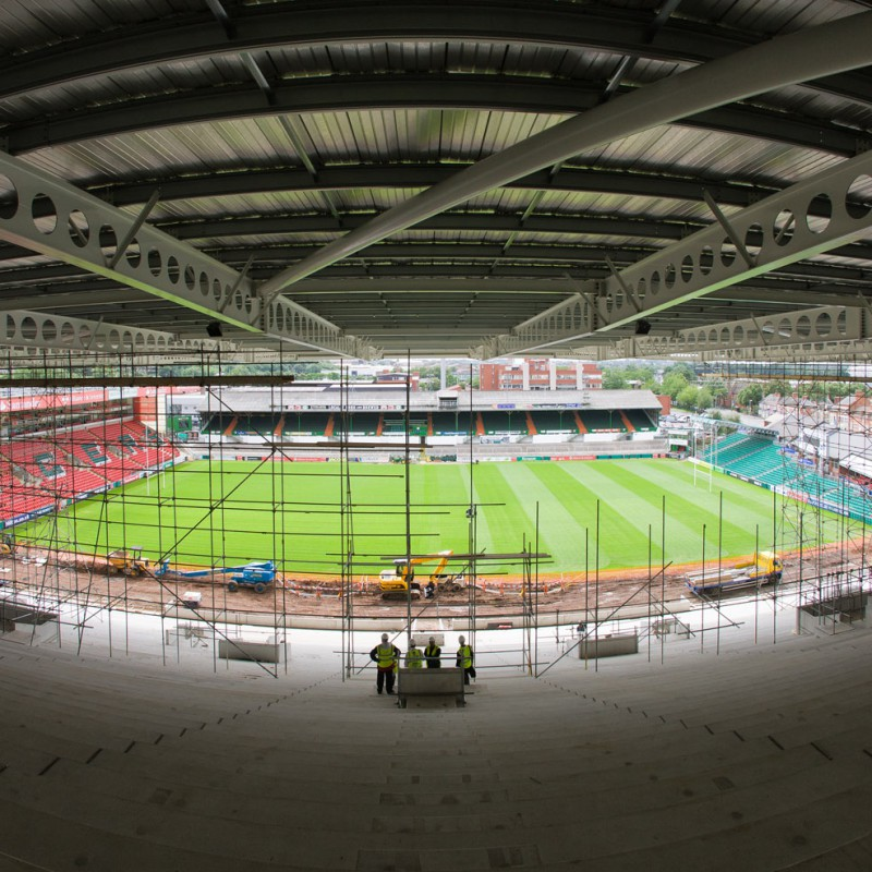 Roofwork at Leicester Tigers rugby stadium