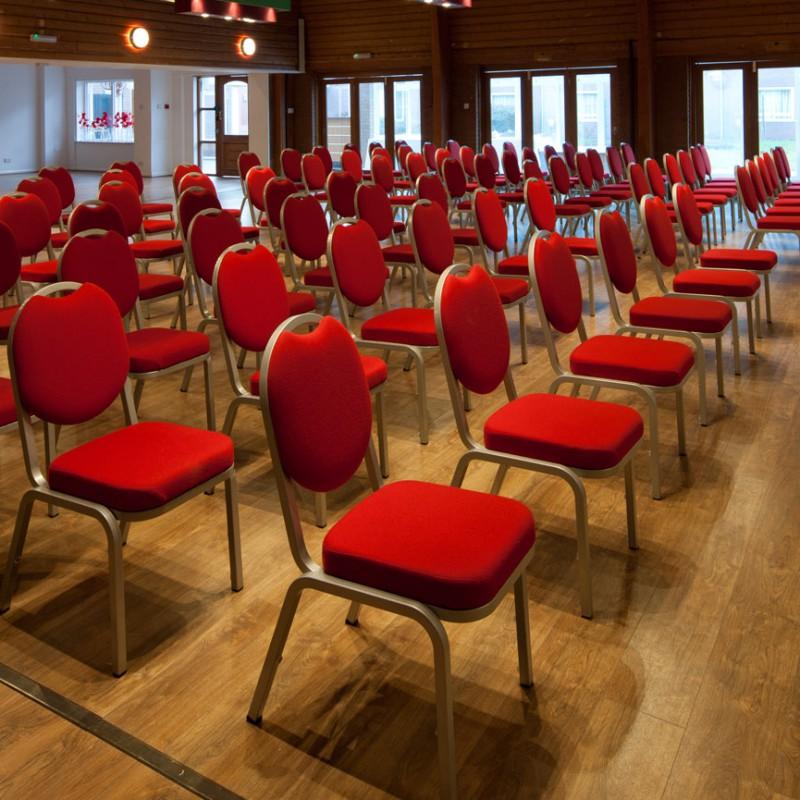 Room set up for conference presentation