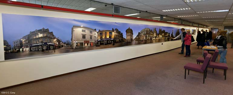 large print of city centre on wall