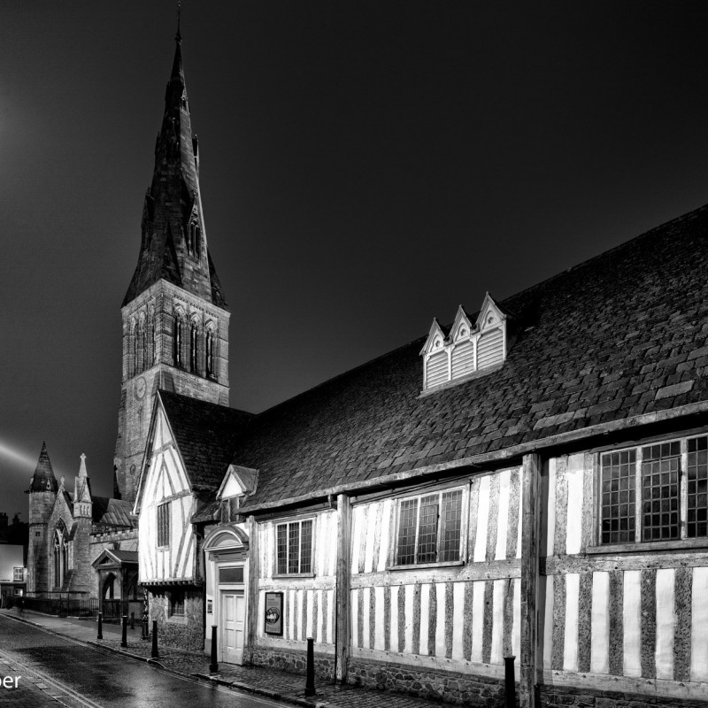 Guildhall and cathedral at night