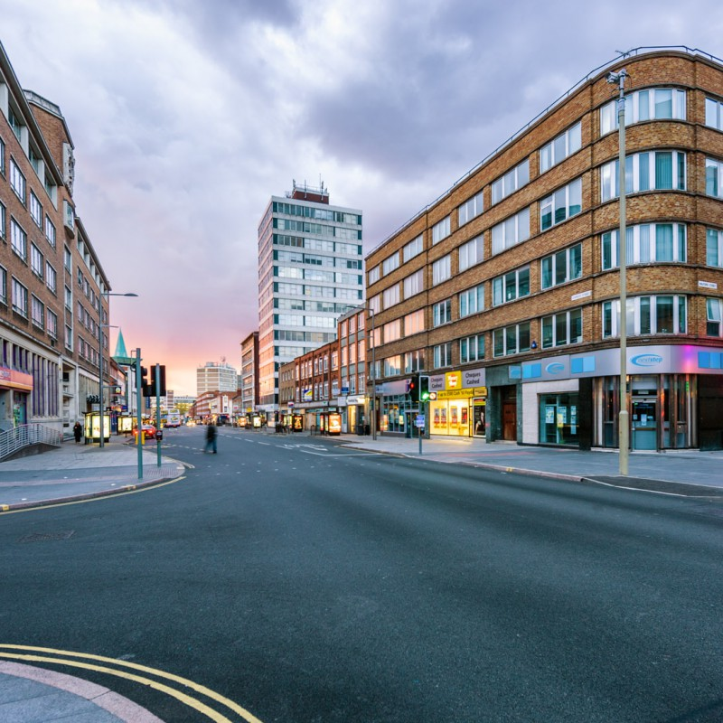 Charles Street at dusk