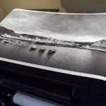 staithes harbour black and white print